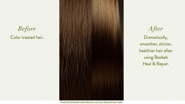 Before - After Baobab Shampoo + Conditioner